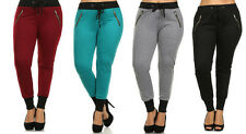 NEW Women's Plus Size COLORS Cuff Drawstring Jogger Pants Zipper Sweats 1X 2X 3X