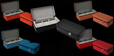 ANDROID 3 SLOT LEATHERETTE PREMIUM WATCH TRAVEL CASE CHOICE OF RED, BLUE, ORANGE