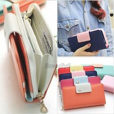 Women's Leather Colorful Clutch Case Lady Long Handbag Zip Button Wallets,1pc