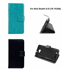 For Blu Studio 5.0 LTE Y530Q PERFECT FIT Leather Wallet Folio Case Cover Stand