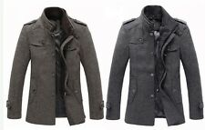 Mens Winter Warm Wool Long jacket trench coat parkas overcoat HOT
