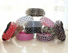 NEW Leather Dog Collar Spiked Studded Collar Pitbull Dog Terrier Collar S M L XL
