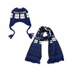 New Doctor Who TARDIS Design Warm Knit Braided Bobble Hat/Scarf Halloween Gift