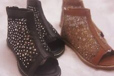NEW GIRLS OPEN TOE ANKLE HIGH FLAT BOOTS RHINESTONE LACE BACK ZIPPER SHIPS FREE