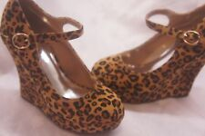 NEW LADIES MARY JANE WEDGE PLATFORM SHOES CAMEL LEOPARD PRINT**FREE SHIPPING**