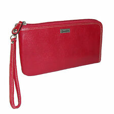 New Buxton Womens Leather RFID L-Zip Around Wallet with Removable Wrist Strap