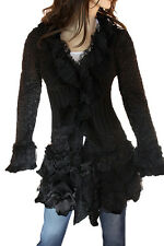 Cecico Black Ruffle Lace Knit New Button Cardigan Sweater Jacket Western Cute