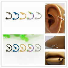 Steel Helix S Twist Nose Lip Eyebrow Bar Cartilage Ring Earring Body Piercd Stud
