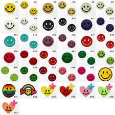 #2641R Small Happy Smiley Face Kids Children Embroidered Sew Iron On Patch Badge