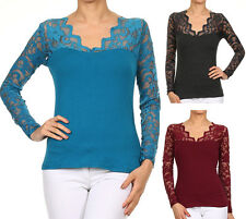 Lace Scalloped V-Neck Top Long Sleeve Cotton T-Shirt Fashion Central