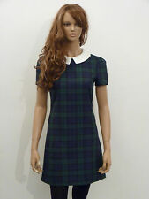 New womens green and navy tartan check white collar shift dress size 6-16