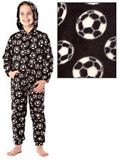 Boys Warm Fleece Zip Up Hooded Football Onesie Pyjamas Blue Or Black. Ages 3-10.