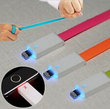 Smart Bright 8 Pin LED USB Charger Data Sync Cable Flat Cord For iPhone 5 5s 6