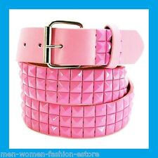 Women's Light Pink 3-Row Metal Pyramid Studded Leather Belt  Punk Rock Goth Emo