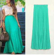 Double Layer Long Chiffon Skirts Female Candy Color Pleated Maxi Womens Skirts