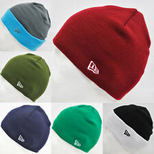 New Era Straight Knit / Roll Up Basic Beanie Wooly Hat Navy, Green, Black +