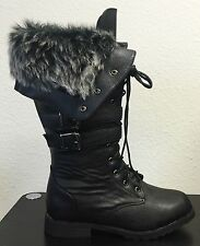Women Winter Warm Faux Fur Knee High Lace Up Combat Side Zipper Boots