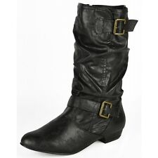 S481 - Ladies Faux Leather Slouch Biker Mid-Calf Low Heeled Boots - UK 3 - 8