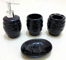 4Pc Ceramic Bathroom Accessory Set Soap Dish Dispenser Toothbrush Holder MRibbed