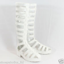 Strappy Caged Gladiator Knee High Flat Sandal WHITE 6 to 10