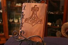 Small Customizable Wood & Leather Blank Journal, Book of Shadows - Thor's Hammer