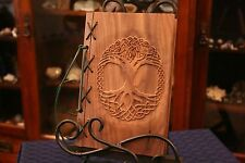 Sm Custom Wood & Leather Blank Journal, Book of Shadows - Yggdrasil Tree of Life