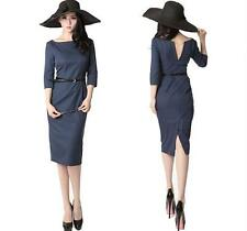 New Women Fashion OL/Casual One Piece Backless Slim Belted Pencil Bodycon Dress