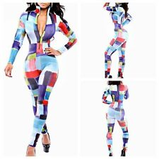 Fashion Womens Colorful Plaids Zip Stretch Bodycon Rompers Jumpsuits Clubwear