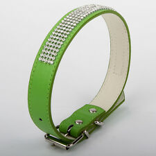 Green Adjustable PU Leather Pet Dog Collar Bling Diamante 5 Rows Crystal Safety