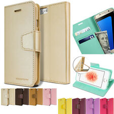 Leather Wallet purse Id Flip Case Folio Metal Cover For APPLE iPhone 5 6 /Galaxy