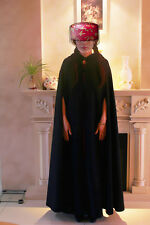 Black Gothic Hooded Wool Cloak Gothic Wicca Robe Medieval Witchcraft Larp Cape