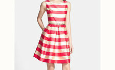 Eliza J Stripe Jacquard Aline Dress - Size 12, 14 - Gold / Orange - BNWT