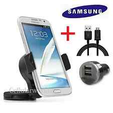 Car Windshield Suction Mount Rotating Holder + Car Charger + OEM Samsung Cable