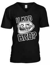 You U Mad Bro Troll Face Meme Internet Humor Joke Nerd Geek Mens V-neck T-shirt