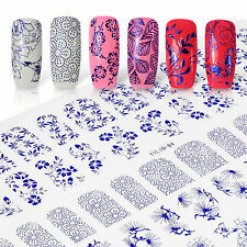 One Sheet 3D Nail Art Stickers 60PCS Designs Blue color DIY Tips for Gel Polish