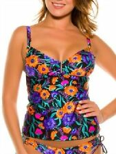2Chillies Coco V Bar Floral on Black Shimmer Tankini RRP $94.95 SALE $24.95
