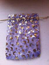Christmas Moon & Star Purple & Gold Organza Gift Bags / Pouches Size 13x18cm