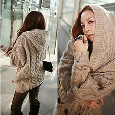Women's Cable Knit Hooded Cardigan HY0004