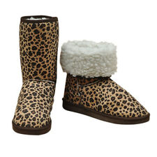 Girl Women Leopard Winter Warm Snow Boots Mid Calf Shoes US Size 6.5-8.5 Cheap