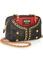 New RUNWAY A/W 2014 MOSCHINO Quilted Leather Jacket Chain Bag  *RARE*