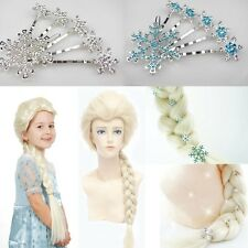 Frozen Snow Queen Elsa Blonde Hair Weaving Braid Cosplay Wigs Snowflakes Hairpin