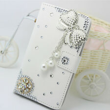 Handmade Diamonds butterfly tassel PU leather slot wallet case cover for LG