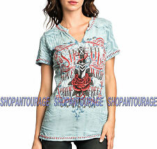 Sinful Rosario S3359 Women`s New Blue T-Shirt By Affliction