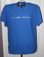 """EAT SLEEP PLAY BALL"" T-SHIRT-BASEBALL SHIRT-BLUE/SILVER-YOUTH & ADULT SIZES"