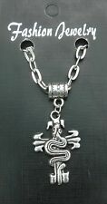 "20"" or 24"" Inch Snake on Cross Pendant Charm & Necklace Goth Emo Biker Asp Gift"