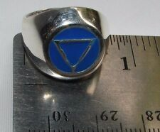 Sterling Silver Alcoholics Anonymous AA Symbol Blue Enamel Ring 950