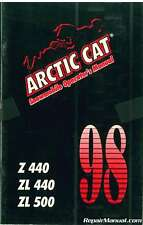 Used 1998 Arctic Cat Z440 ZL440 And ZL500 Snowmobile Owners Manual