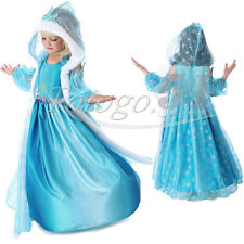Christmas Frozen Elsa Queen Hooded Cape Gown Girl Kids Princess Cosplay Dress Up