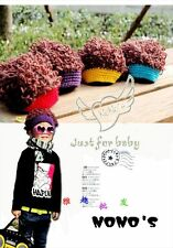 Baby Girls Boys Toddler Wool Hat With Curly Hair Head Explosion Cap Beanie 0-36M