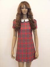 New womens red tartan check white collar shift dress size 6-16